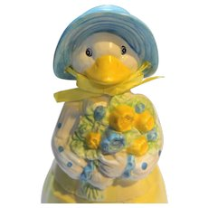 Mother Goose Ceramic Cookie Jar Hand Painted Blue Yellow White