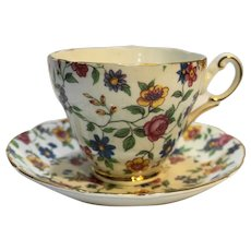 Grosvenor Bone China Jackson Gosling Floral Chintz Cup Saucer