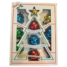 Holly Vintage Christmas Ornaments Multicolored Glass Set of 10