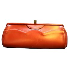 Adrienne Handbags Red Leather Baguette Style Clutch Purse 1940s