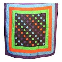 Bill Blass Silk Scarf Polka Dots Stripes Red Blue Green Purple