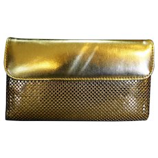 Whiting & Davis Gold Tone Mesh Wallet French Clutch Vintage 1980s