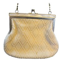 Fine Arts Bag Made in Hong Kong Cream Plastic Beaded Evening Bag