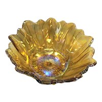 Indiana Glass Lily Pons Amber Marigold Carnival Glass Nappy Bowl