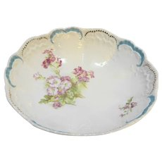 Weimar Germany Porcelain Serving Bowl Floral Blue Gold Scallops