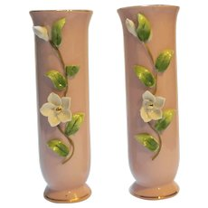 Lefton Pink Bud Vases White Applied Flowers