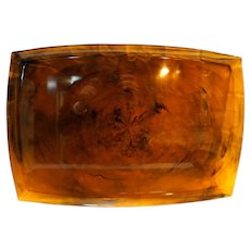 Faux Tortoiseshell Root Beer Lucite Tray Platter 19 x 13 IN