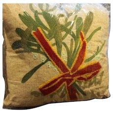 Decorator Pillow Linen Yarnwork Red Green Botanical