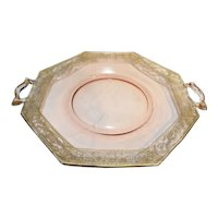 Pheasant And Stump Gold Encrusted Pink Depression Glass Cake Plate