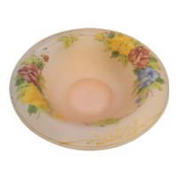 Pink Satin Frosted Depression Glass Reverse Painted Floral Rolled Rim Bowl