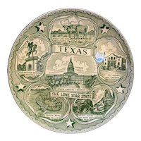 Texas Lone Star State Green Transferware Souvenir Plate