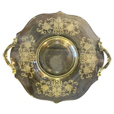 Lancaster Topaz Yellow Depression Glass Handled Cake Sandwich Plate Floral Etch