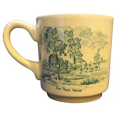 Ridgway Ridgways England Coaching Days Teal Green Transferware Mug