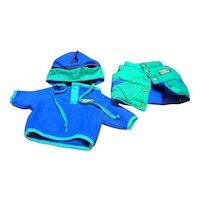 LL Bean LL Bear Green Puffer Vest Blue Fleece And Hat New