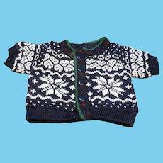 LL Bean LL Bear Kingfield Snowflake Cardigan Sweater