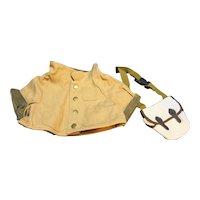 LL Bean LL Bear Canvas Field Coat Plaid Lining & Field Bag