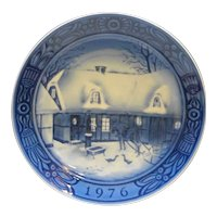 Georg Jensen Country Christmas 1976 Plate Blue White Porcelain With Box