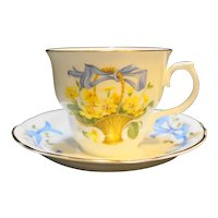 Arklow Ireland Bone China April Primrose Cup Saucer Set