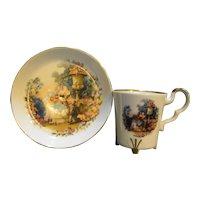 Bareuther Waldsassen Bavaria Germany Porcelain Cup Saucer Pictorial Scene Demitasse