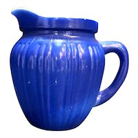 Hazel Atlas Cobalt Blue Gay Rainbow Milk Pitcher
