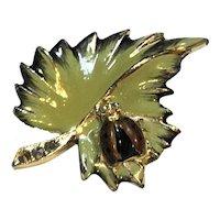 Green Enamel Leaf Ladybug Pin