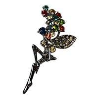 Rhinestone Multicolor Fairy Pin Silver Tone