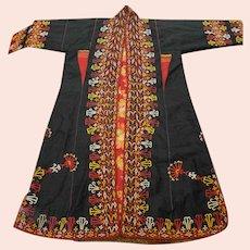 Turkoman Turkmen Silk Ladies Chapan Black Red
