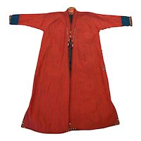 Turkoman Turkmen Silk Child Size Chapan Red Black