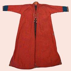 Turkoman Turkmen Silk Child Size Chapan Red Black
