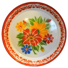 Enamel Flowers Bright Round Serving Tray Metal