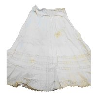 Cream Cotton Lace Flounce Petticoat 29 IN Waist