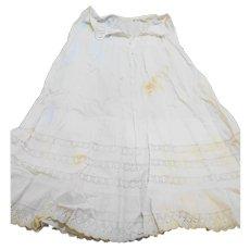 Cream Cotton Lace Flounce Petticoat 29 IN Waist