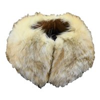 Rabbit Fur Collar Vintage Cream Brown