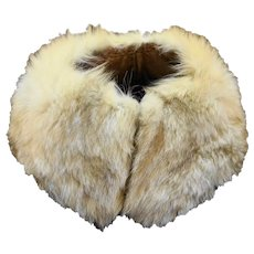 Rabbit Fur Collar Vintage Cream Brown