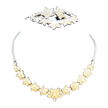 Bogoff Rhinestone Rhodium Parure Set Clear Star Flower Snowflake
