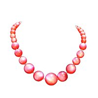 Raspberry Moonglow Lucite Necklace Graduated Beads