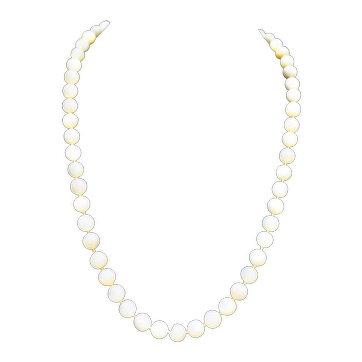 Hand Carved Mother Of Pearl Bead Necklace Single Strand