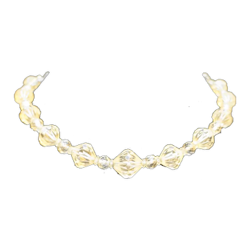 Faceted Clear Crystal Graduated Bead Necklace