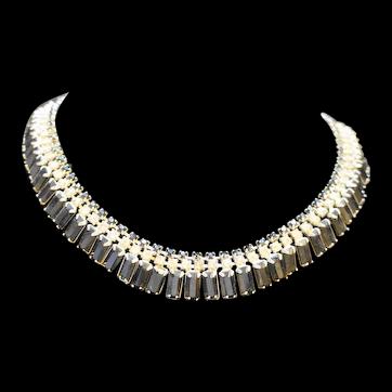 Black Clear Rhinestone Fringe Necklace & Earrings Set Silver Tone
