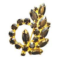 Black Glass Rhinestone Gold Tone Pin Brooch Floral Spray
