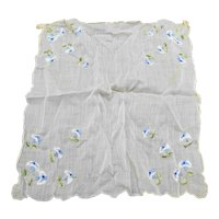 Vintage Blue Flower Embroidered Handkerchief Hankie