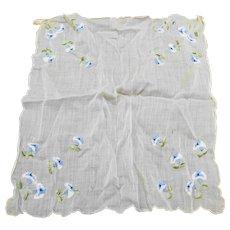 Vintage Blue Flower Embroidered Handkerchief Hankie