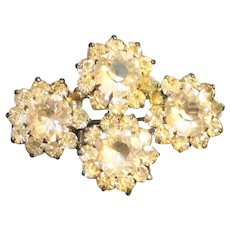 Sterling Rhinestone Flowers Circles