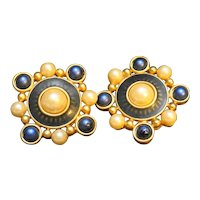 Liz Claiborne Clip Earrings Blue Faux Pearl Gold Tone