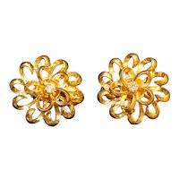 Gold Tone Flower Clear Rhinestone Clip Earrings