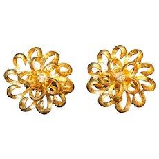 Gold Tone Flower Clear Rhinestone Clip Earrings