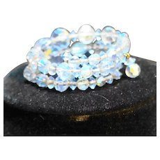 Ice Blue Aurora Borealis Crystal Bead Wrap Cuff Bracelet
