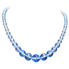 Cornflower Blue Crystal Faceted Graduated Beads Necklace