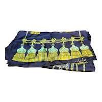 Echo Silk Scarf Navy Blue Green Gold Tassel Pattern Oblong 64 IN