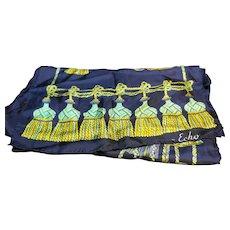 Echo Silk Scarf Navy Blue Green Gold Tassel Pattern Oblong 64 IN